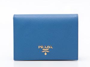 プラダ 1M0668 二つ折財布 コバルト サフィアーノ