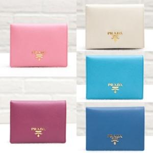 プラダ サフィアーノ 二つ折り財布 ピンク アイボリー ブルー グレー コンパクト