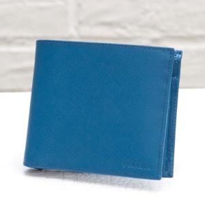 プラダ メンズ二つ折り財布 サフィアーノ ブルー