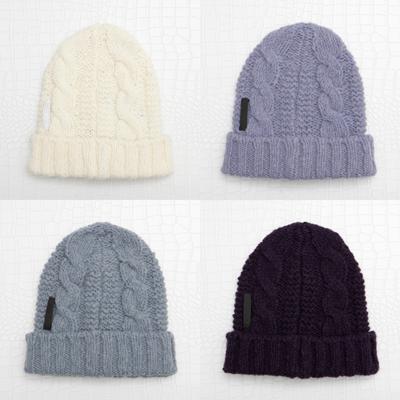 プラダ ウールニット帽子 グレー クリーム パープル 三つ編み
