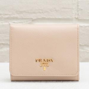 プラダ サフィアーノ 三つ折り財布 ピンクベージュ