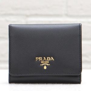 プラダ サフィアーノ 三つ折り財布 ブラック 黒