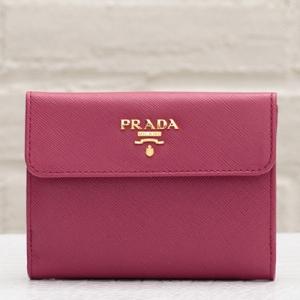 プラダ サフィアーノ 二つ折り財布 イビスコピンク 人気定番