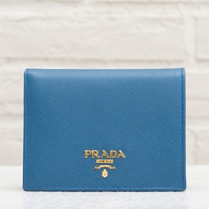 プラダ サフィアーノ 二つ折り財布 コバルトブルー コンパクト