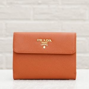 プラダ サフィアーノ 二つ折り財布 オレンジ系 小銭入れ 折りたたみ
