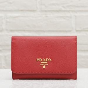 プラダ サフィアーノ カードケース ホルダー 赤 レッド
