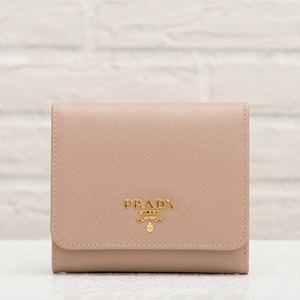 プラダ サフィアーノ 三つ折り財布 カメオ ベージュ