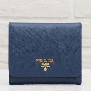 プラダ サフィアーノ 三つ折り財布 折りたたみ ちぴ ミニ ネイビー ダークブルー 紺