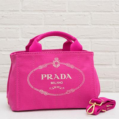 プラダ キャンバストートバッグ カナパ ロゴ 2way ストラップ ミニサイズ Sサイズ フューシャピンク 梨花 紗栄子