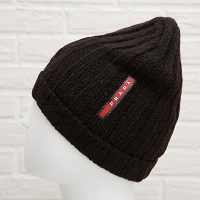 プラダ ニット帽 キャップ ウール ロゴ メンズ ユニセックス
