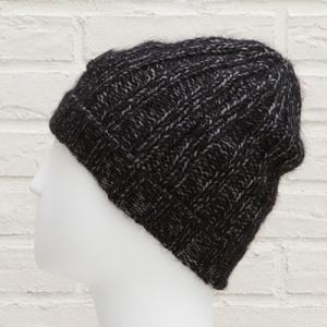 プラダ ニット帽 キャップ メンズ ユニセックス バージンウール ブラック 黒 グレー