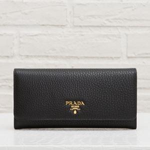 プラダ カーフレザー 長財布 ブラック 黒 スナップボタン