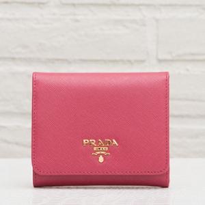 プラダ サフィアーノ 三つ折り財布 ピオニーピンク