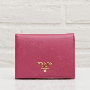 プラダ サフィアーノ 二つ折り財布 ピンク ミニ