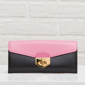 プラダ バイカラー 長財布 ボックスカーフ ピンク ブラック 黒