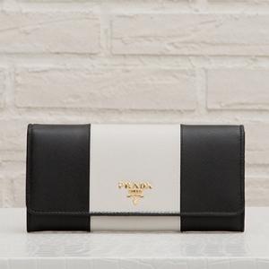 プラダ サフィアーノ バイカラー 長財布 ブラック ホワイト 白黒