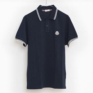 モンクレー 半袖ポロシャツ ネイビーブルー コットン
