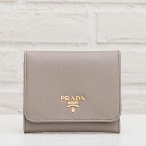 プラダ サフィアーノ 三つ折り財布 グレー系