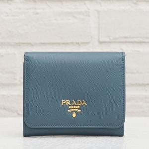 プラダ サフィアーノ 三つ折り財布 ブルー系
