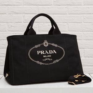 プラダ カナパトートバッグ ブラック 黒 キャンバス ロゴ Lサイズ 2WAY