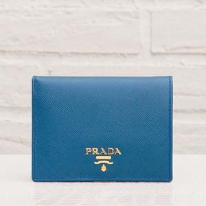 プラダ サフィアーノ 二つ折り財布 コバルトブルー コンパクト ミニ財布