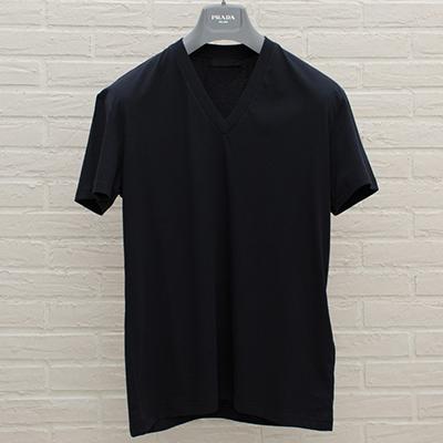 プラダ メンズ VネックTシャツ ネイビーブルー コットン