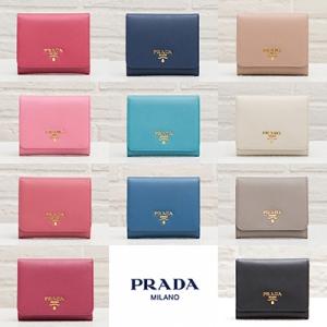 プラダ サフィアーノ 三つ折り財布  ミニ ピンク ネイビー ブルー ベージュ ブラック