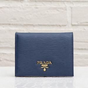 プラダ 二つ折り財布 ダークブルー ネイビー コンパクト ミニ