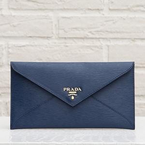 プラダ ドキュメントケース エンベロップ ネイビーブルー 財布