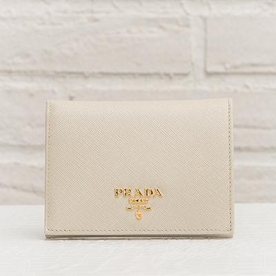 プラダ サフィアーノ 二つ折り財布 アイボリー ミニ財布