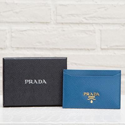 プラダ サフィアーノ カードケース パスケース コバルトブルー