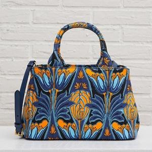 プラダ カナパ 2wayトートバッグ フラワープリント オレンジ ブルー S ミニサイズ