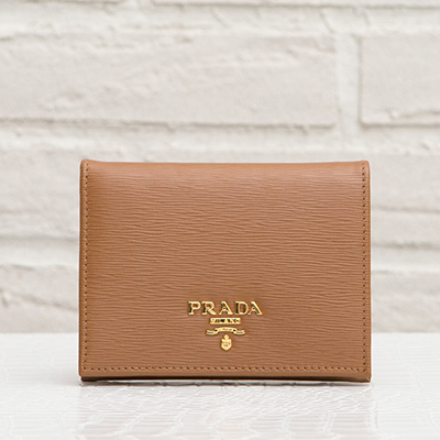 プラダ 二つ折り財布 ミニ財布 キャラメルブラウン