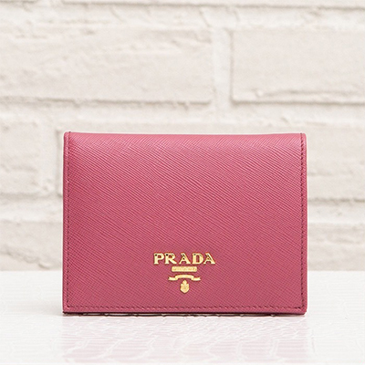 プラダ サフィアーノ 二つ折りミニ財布 ピンク