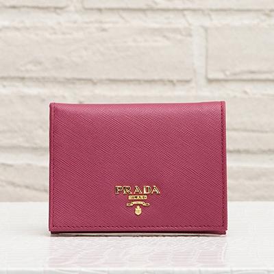 プラダ サフィアーノ 二つ折り財布 ミニ ピンク系 イビスコ