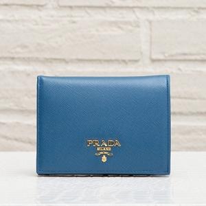 プラダ サフィアーノ 二つ折り財布 ミニ財布 コバルトブルー 青