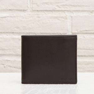 プラダ メンズ 二つ折り財布 カーフレザー ダークブラウン