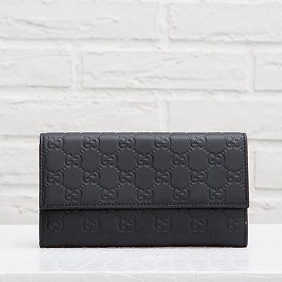 グッチ グッチシマレザー GG柄 三つ折り 長財布 ブラック 黒