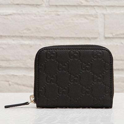グッチ グッチッシマレザー ラウンドジップ ミニ財布 ファスナー ブラック 黒