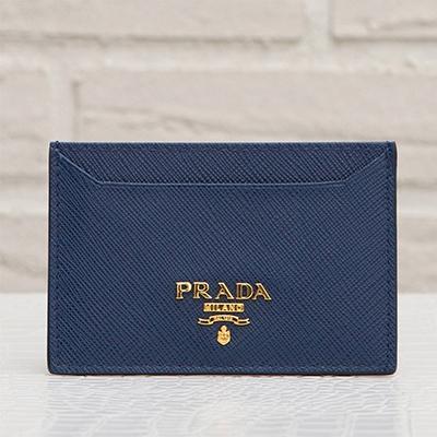 プラダ サフィアーノ カードケース パスケース ダークブルー ネイビー 紺色