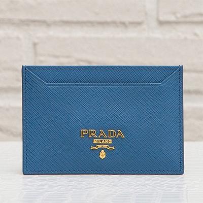 プラダ サフィアーノ カードケース パスケース コバルトブルー 青