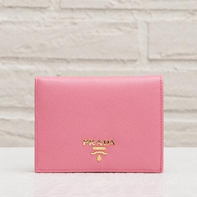 プラダ サフィアーノ 二つ折りミニ財布 ジェラニオピンク