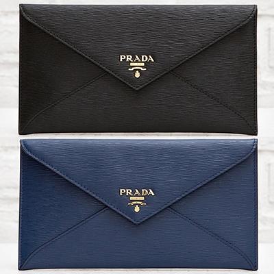 プラダ ドキュメントケース お札入れ 長財布 エンベロップ 封筒型 ブラック ネイビー ダークブルー
