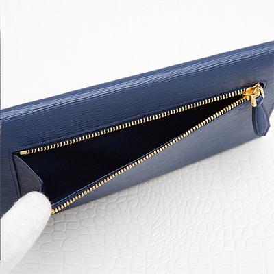プラダ ドキュメントケース お札入れ 長財布 エンベロップ 封筒型 ネイビー ダークブルー
