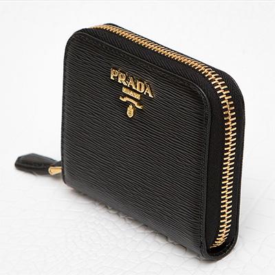 プラダ コインケース ヴィテッロ ムーブ カード ラウンドファスナー ジッパー ブラック 黒