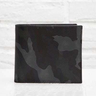 プラダ サフィアーノ メンズ 二つ折り財布 カモフラージュ 迷彩柄 ダークブルー ネイビー ブラック チャコールグレー 黒