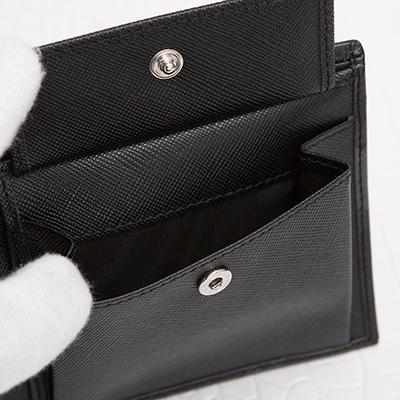 プラダ サフィアーノ メンズ 二つ折り財布 カモフラージュ 迷彩柄 ダークブルー ネイビー ブラック チャコールグレー 黒 小銭入れ