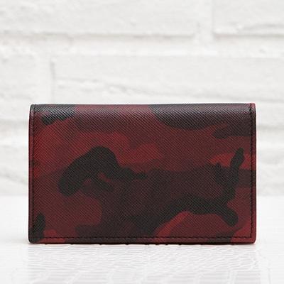 プラダ メンズ サフィアーノ カードケース 名刺入れ ボルドー系 赤 カモフラージュ 迷彩柄 ユニセックス