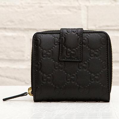 グッチ グッチッシマレザー GG柄 オリジナルGGパターン 二つ折り財布 アラウンドジップ小銭入れ ファスナー コンパクト ブラック 黒