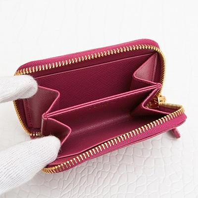 プラダ サフィアーノ コインケース アラウンドジップ ファスナー カード 小銭入れ ミニ財布 シンプル イビスコピンク